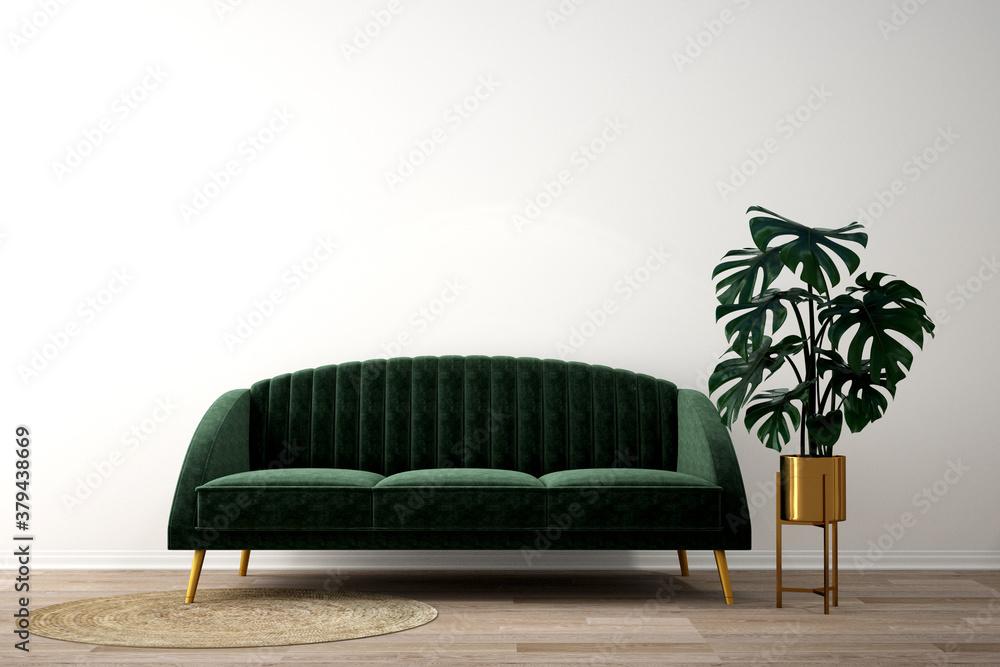 Fototapeta interior design for living area or reception background / 3d illustration,3d rendering