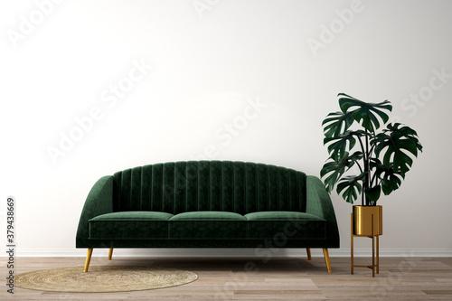 Fototapeta interior design for living area or reception background / 3d illustration,3d rendering obraz