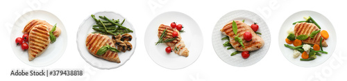 Photo Set of grilled chicken breasts on white background, top view