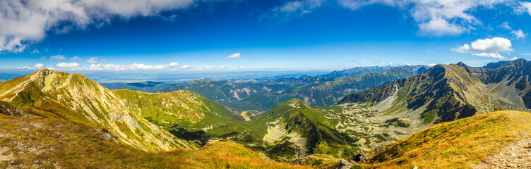 Panoramic view of mountain landscape in Rohace area of the Tatra National Park, Slovakia, Europe.