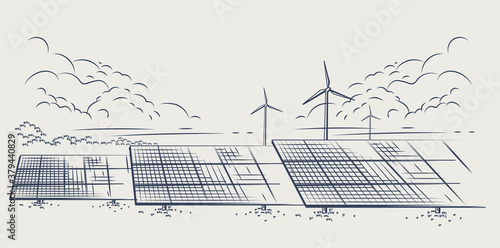 Obraz Solar panels and wind turbines or alternative sources of energy. Ecological sustainable energy supply. Vector illustration design. - fototapety do salonu