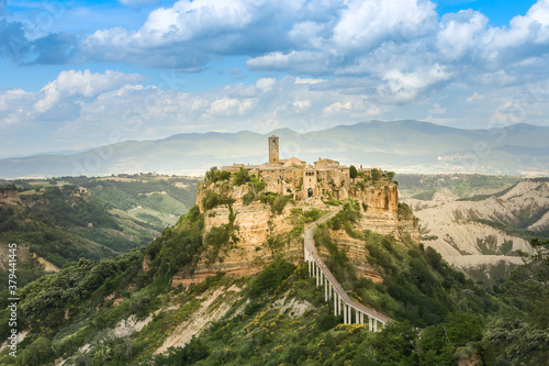 The small italian town Civita di Bagnoregio on the rock and the only bridge to it.