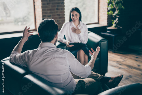 Portrait of his he her she nice attractive cheerful people meeting attending int Fototapet