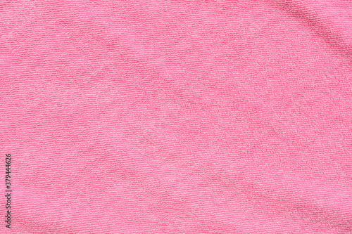 Pink towel fabric texture surface close up background Fototapet
