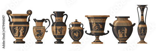 Fotografija Set of antique Greek amphoras, vases with patterns, decorations and life scenes