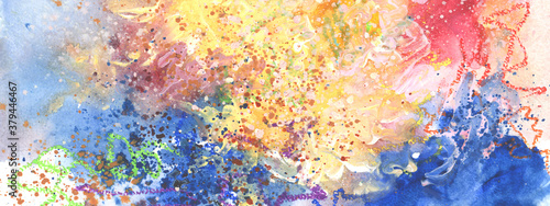 Abstract watercolor smear blot painting Canvas Print