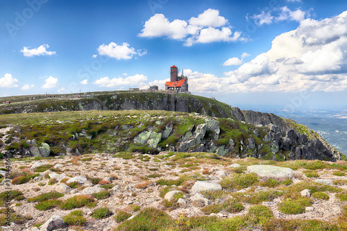 Fototapeta Summer landscape of Sniezne Kotly (literally Snowy Pits, Snowy Cirque, 1175 m above sea level), are two glacial cirques situated in Poland in the Sudetes in the Karkonosze National Park. obraz
