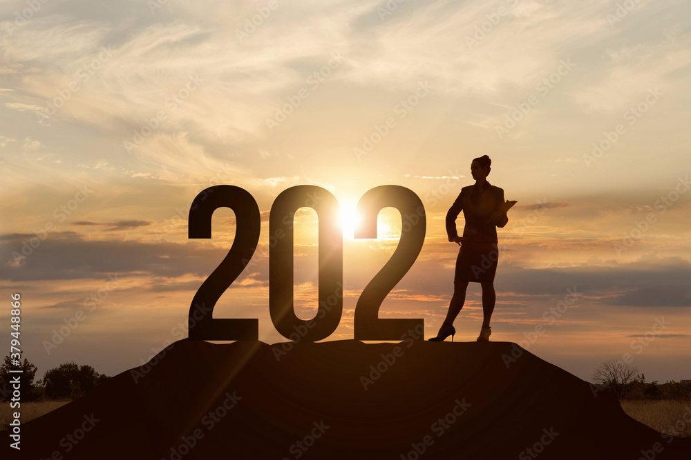 Fototapeta Concept of business prospects in the new 2021.
