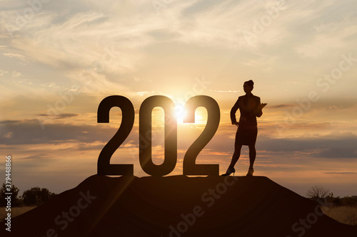 Fototapeta Concept of business prospects in the new 2021. obraz