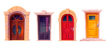 Wooden Front Doors With Stone Frame Isolated On White Background. Vector Cartoon Set Of House Entrance, Red, Brown And Yellow Closed Doors With Knobs And Windows For Building Facade