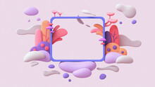 Blue Frame Floating In Purple White Clouds With Red Mushrooms, Yellow Plants. Cute Magic Frame In Colorful Garden And Flying Bubbles. Theme Birthday Party Invitation. 3d Render With Multicolor Objects