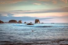 Bandon Oregon Coast Seascape With Sea Stacks In Background