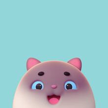 Head Of A Smiling Siamese Cat With An Open Mouth On Blue Background. Concept Art Cartoon Funny Kawaii Black White Kitten Character With Eyes Wide Open, Eyebrows, Pink Ears. 3d Digital Illustration.