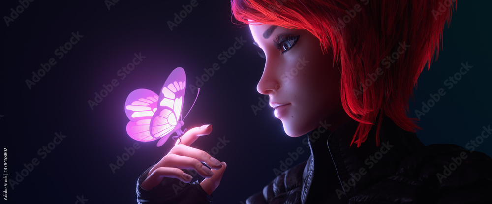 Fototapeta 3d illustration of a portrait of girl looking at the glowing pink butterfly landed on her finger in night scene. Young cyberpunk woman with short red hair in black leather jacket, fingerless gloves.