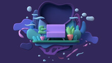 Floating Island In Blue Clouds And Flying Bubbles With A Pink Sofa On A Green Lawn, Potted Plants, Multicolor Trees, Bushes. Minimal Art Style. Cozy Home At Night. 3d Illustration On Purple Background