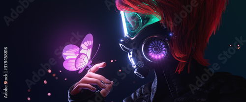 Fototapeta 3d illustration of a cyberpunk girl in futuristic gas mask with protective green glasses and filters in jacket looking at the glowing butterfly landed on her finger in a night scene with air pollution obraz