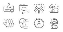 User Info, New House And Support Line Icons Set. Certificate, Hold Heart And Face Biometrics Signs. Friends Couple, Smile Face Symbols. Update Profile, Buying Home, Call Center. People Set. Vector