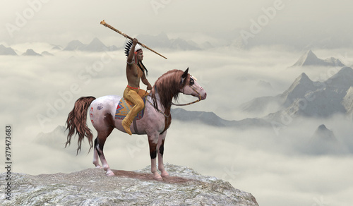 Fotografering Indian Leaping Bear - An American Indian in warbonnet rides his war pony to the top of a cliff in the western mountain range