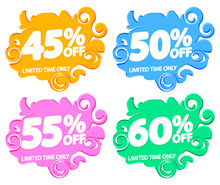 Set Sale Bubble Banners Design...