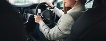 Business Woman Driving Modern ...