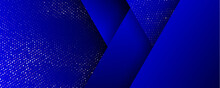 Background, Gold Glitter Halftone On Geometric Abstract Pattern, Vector. Royal Blue Black Triangles Background With Glittery Shine Of Golden Confetti Dots Splatter Spray, 3d Effect Background