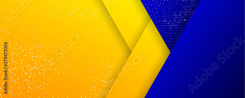 Background of gold orange glitters and blue geometric abstract pattern, vector Slika na platnu