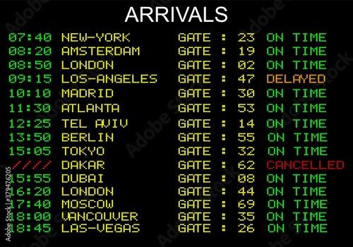 Fototapeta affichage aeroport arrivals lcd obraz