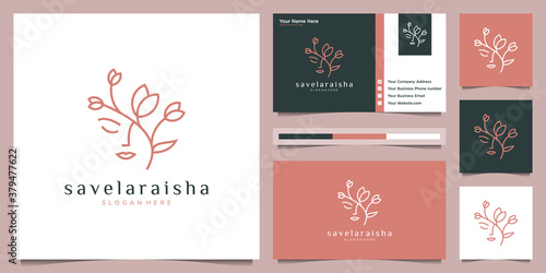 Tela women face with flower logo design and business card