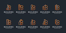 Building Logo Design Collection. Set A Creative Initial Letter B With Real Estate Symbol. Minimalist Monogram And Line Art Style.