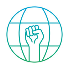 Raised Fist Hand In Global Sphere Degraded Style Icon Design, Manifestation Human Rights And Protest Theme Vector Illustration