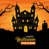 happy halloween banner with castle haunted vector illustration design