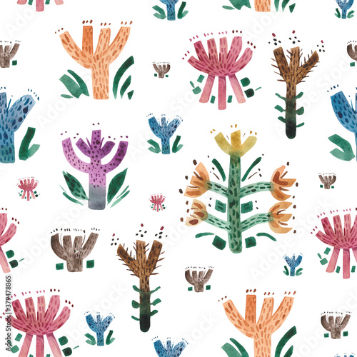 Watercolor seamless floral pattern of autumn flowers in primitivism style Wallpaper Mural