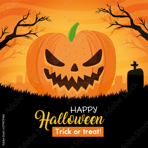 Fototapeta happy halloween banner with scary pumpkin on cemetery vector illustration design obraz