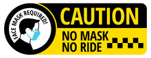 No Mask No Ride Sign To Prevent Covid-19 Infection Spread