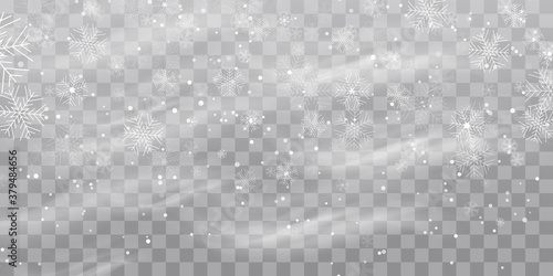 Vector heavy snowfall, snowflakes in different shapes and forms Tableau sur Toile