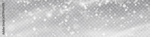 Vector heavy snowfall, snowflakes in different shapes and forms Fototapet