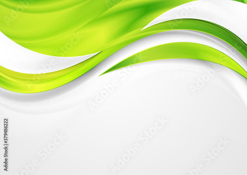Bright green shiny glossy waves abstract background Canvas Print