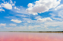 Romantic Landscapes With Rose Water And Cloudy Skies.
