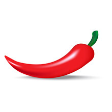 Red Chili Peppers. Hot Spice Illustration. Realistic Pepper With A Green Stem. Jalapeno Pepper. Vector Illustration. Stock Image.