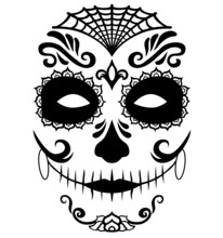Mexican Death Mask La Catrina For Santa Muerte - Day Of The Dead Holiday, Feast. And For Halloween.