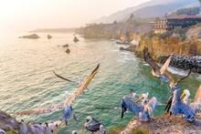 Pelicans In Flight Over Cliff,...
