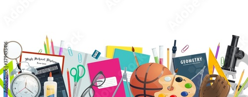 Obraz School supplies vector banner of education and back to school design. Student stationery border with books, pencils, calculator and microscope, pens, notebooks and paint, tubes, scissors and glasses - fototapety do salonu