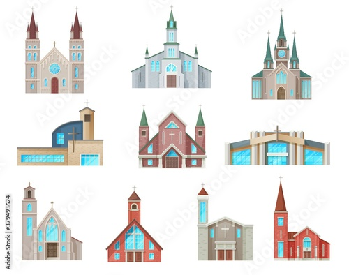 Photo Catholic church buildings vector icons