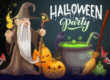 Halloween Party Cartoon Vector Poster. Wizard With Long White Beard, Gown And Hat Hold Magic Staff And Fire Near Cauldron With Green Potion. Halloween Jack-o-lantern Pumpkins, Raven, Frog And Broom