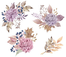 Watercolor Fall Floral Bouquet...