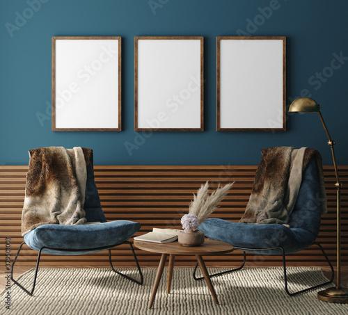Fototapeta Mockup poster frame in modern dark green home interior, 3d render obraz