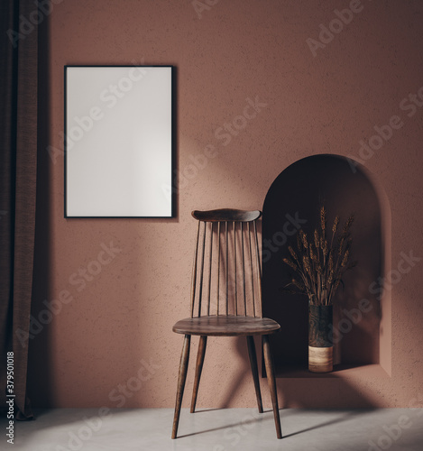 Mock up poster in home interior with minimal furniture, 3d render - 379501018