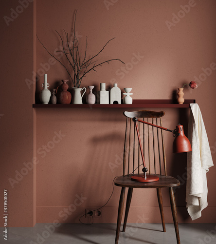 Fototapeta Chair with lamp and vases on shelf close up in dark brown interior, 3d render obraz