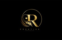 Initial R Letter Luxury Beauty Flourishes Golden Monogram Rounded Shape Logo