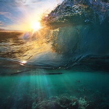 Tropical Paradise Template With Sunlight. Ocean Surfing Wave Breaking And Coral Reef Underwater